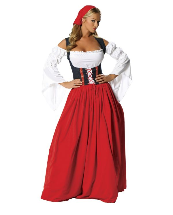 Платье в баварском стиле декольте