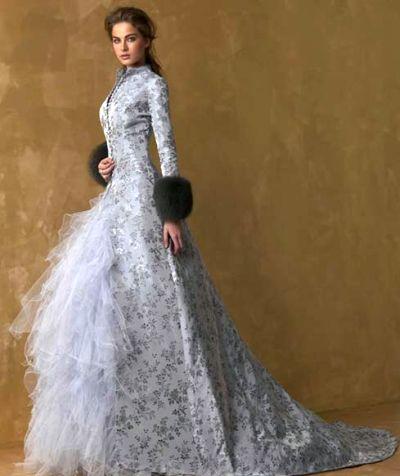 Серебряное платье свадебное